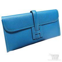 Hermes Jige Elan Clutch Blue Izmir Epsom Leather