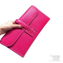 Hermes Jige Elan Clutch Rose Tyrein Epsom Leather