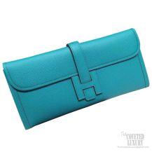Hermes Jige Elan Clutch Blue Paon Epsom Leather