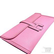 Hermes Jige Elan Clutch Cherry Pink Epsom Leather