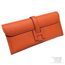 Hermes Jige Elan Clutch Orange Epsom Leather