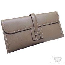 Hermes Jige Elan Clutch Etoupe Epsom Leather