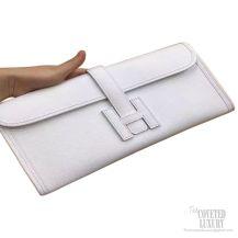 Hermes Jige Elan Clutch White Epsom Leather