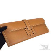 Hermes Jige Elan Clutch Brown Epsom Leather