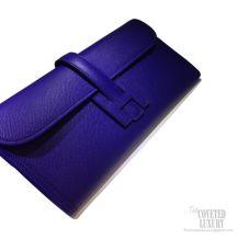 Hermes Jige Elan Clutch Electric Blue Epsom Leather