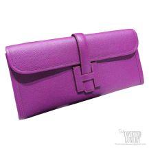 Hermes Jige Elan Clutch Anemone Epsom Leather