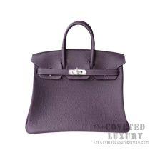 Hermes Birkin 25 Handbag 59 Raisin Togo SHW