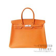 Hermes Birkin 25 Handbag Ck93 Orange Togo SHW