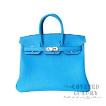 Hermes Birkin 25 Handbag B3 Blue Zanzibar Togo GHW
