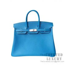 Hermes Birkin 25 Handbag B3 Blue Zanzibar Togo SHW