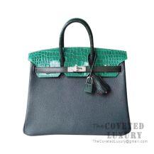Hermes Birkin 25 Handbag Patchwork Vert Crocodile SHW