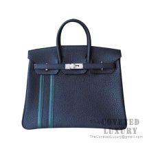 Hermes Birkin 25 Handbag 2Z Bieu Nuit And 6O Vert Cypress Togo SHW