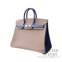 Hermes Birkin 25 Handbag CC18 Etoupe And Ck7T Blue Electric Togo SHW
