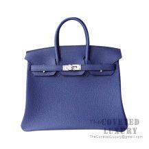 Hermes Birkin 25 Handbag CC73 Blue Saphir Togo SHW