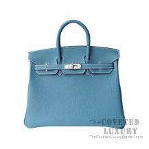 Hermes Birkin 25 Handbag CC75 Blue Jean Togo SHW