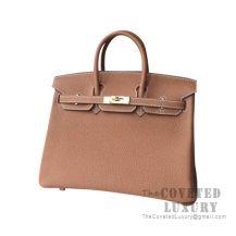 Hermes Birkin 25 Handbag CK37 Gold Togo GHW