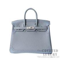 Hermes Birkin 25 Handbag J7 Bleu Lin Togo SHW