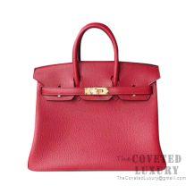 Hermes Birkin 25 Handbag K1 Rouge Grenat Togo GHW
