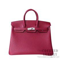 Hermes Birkin 25 Handbag K1 Rouge Grenat Togo SHW