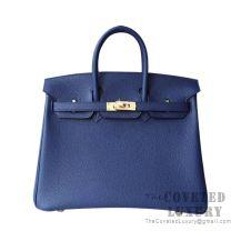 Hermes Birkin 25 Handbag M3 Blue Encre Togo GHW
