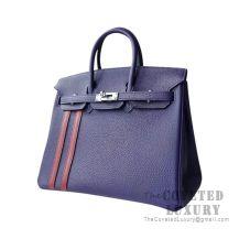 Hermes Birkin 25 Handbag M3 Blue Encre And CK57 Bordeaux Togo SHW