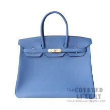 Hermes Birkin 25 Handbag R2 Blue Agate Togo GHW