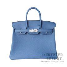 Hermes Birkin 25 Handbag R2 Blue Agate Togo SHW