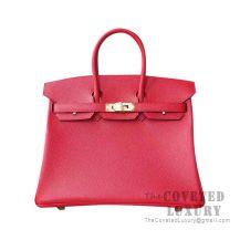 Hermes Birkin 25 Handbag S5 Rouge Tomate Togo GHW
