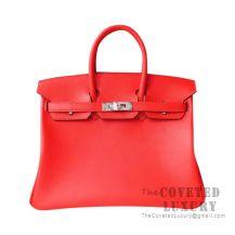 Hermes Birkin 25 Handbag S5 Rouge Tomate Togo SHW