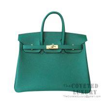 Hermes Birkin 25 Handbag U4 Vert Vertigo Togo GHW