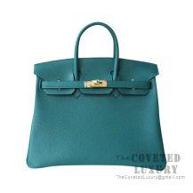 Hermes Birkin 25 Handbag Z6 Malachite Togo GHW