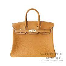 Hermes Birkin 25 Handbag CC21 Natural Sable Togo GHW