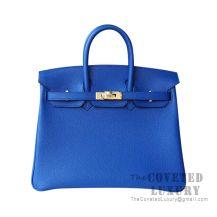Hermes Birkin 25 Handbag I7 Blue Zellige Togo GHW