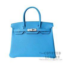 Hermes Birkin 25 Handbag 2T Blue Paradise Togo SHW