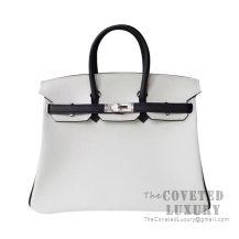 Hermes Birkin 25 Handbag 01 Blanc And 89 Noir Togo SHW