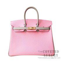 Hermes Birkin 25 Handbag 3Q Pink Sakura CK81 Gris Tourterelle Chevere GHW