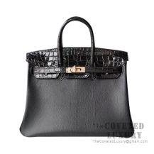 Hermes Touch Birkin 25 Handbag Shiny Noir Alligator And Noir Chevere GHW