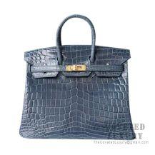 Hermes Birkin 25 Handbag N7 Blue Tempete Shiny Niloticus GHW