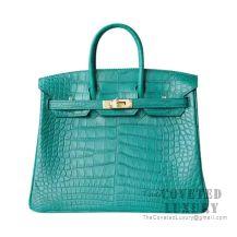 Hermes Birkin 25 Handbag Z6 Malachite Matte Alligator GHW