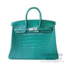 Hermes Birkin 25 Handbag Z6 Malachite Matte Alligator SHW