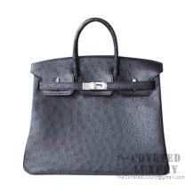 Hermes Birkin 25 Handbag 89 Noir Ostrich SHW