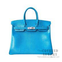 Hermes Birkin 25 Handbag 7W Blue Izmir Lizard SHW