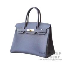 Hermes Birkin 30 Bag 8P Plomb And CC18 Etoupe Togo GHW