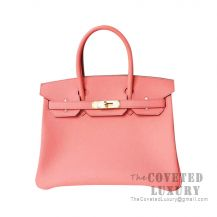 Hermes Birkin 30 Bag 8T Rose Candy Togo GHW