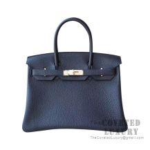 Hermes Birkin 30 Bag 89 Noir And R2 Blue Agate Togo GHW