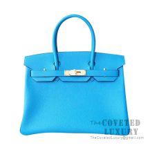 Hermes Birkin 30 Bag B3 Blue Zanzibar Togo GHW