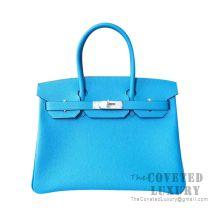 Hermes Birkin 30 Bag B3 Blue Zanzibar Togo SHW