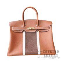 Hermes Club Birkin 30 Bag Tri-Color CC37 Gold And 3G Alezan And Ficelle CC17 GHW