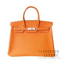 Hermes Birkin 30 Bag CK93 Orange Togo SHW