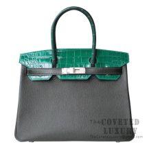 Hermes Birkin 30 Bag Patchwork Vert Crocodile SHW